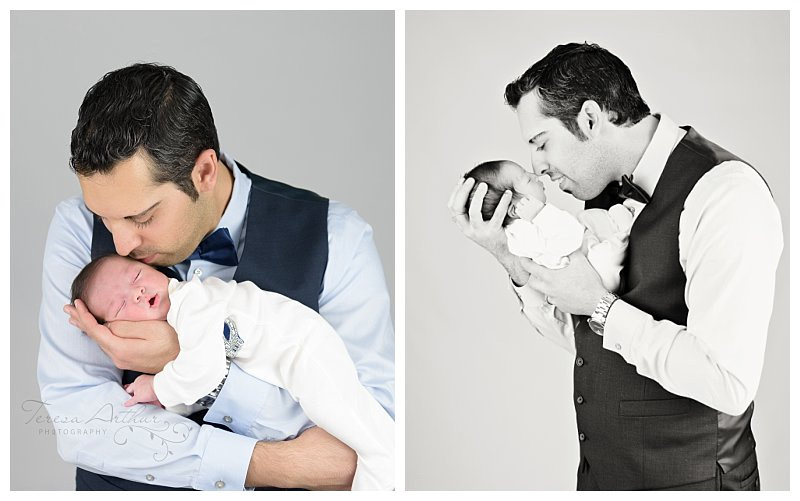 NEWBORN WITH DAD BY TERESA ARTHUR PHOTOGRAPHY