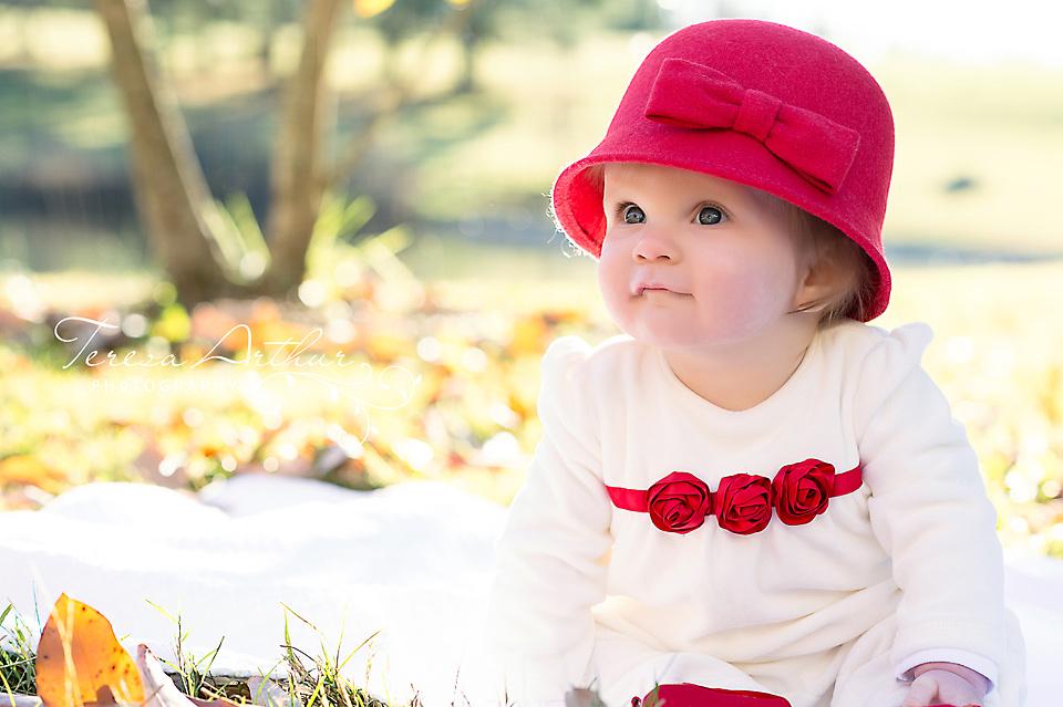 Six month baby girl Christmas portrait
