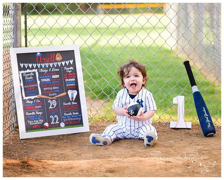 nova baby photographer one year photos baseball