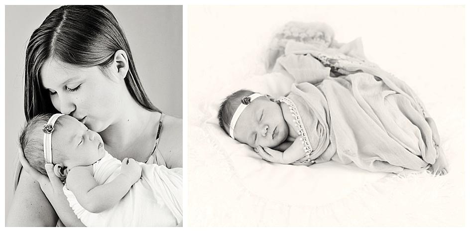 black and white newborn portraits by teresa arthur photography