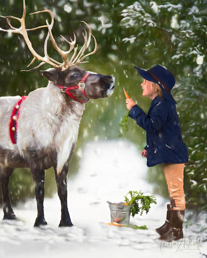 Little Girl with Reindeer-Christmas by Teresa Arthur Photography 2019