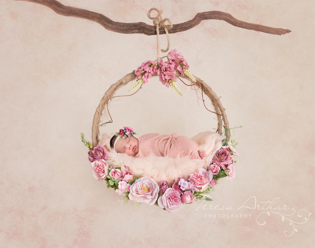 newborn in swing portrait by teresa arthur photography