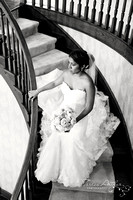 Bride on Staircase at Sunset Crest Manor Virginia