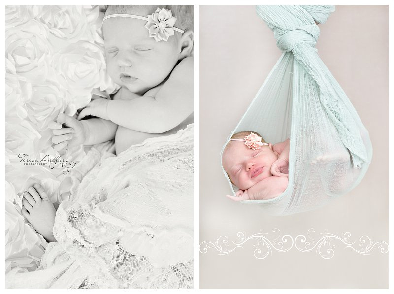 stork sling newborn portrait