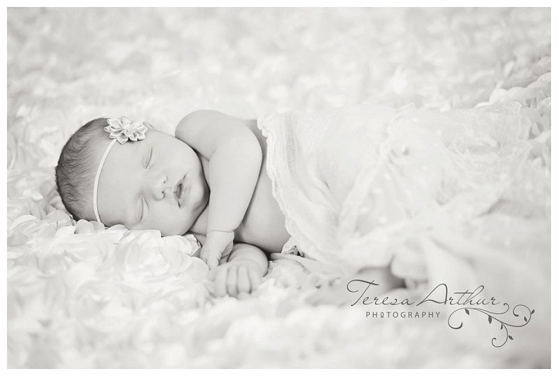 Black and White Newborn portrait by Teresa Arthur Photography