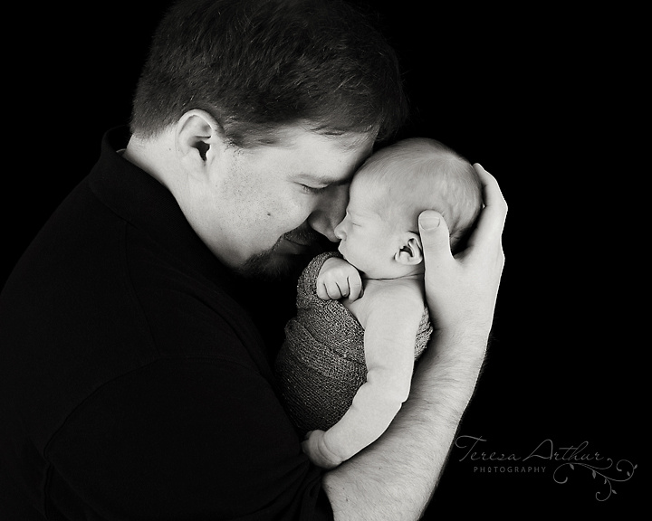 newborn with father portrait in black and white by teresa arthur photography